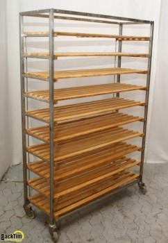 Хлебный холодильник из нержавеющей стали с деревянными полками